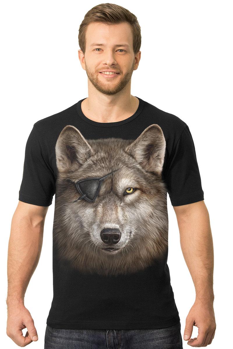 Футболка2-40Мужская футболка MF Волк одноглазый с коротким рукавом и круглым вырезом горловины выполнена из натурального хлопка. Модель оформлена оригинальным принтом в виде волка.