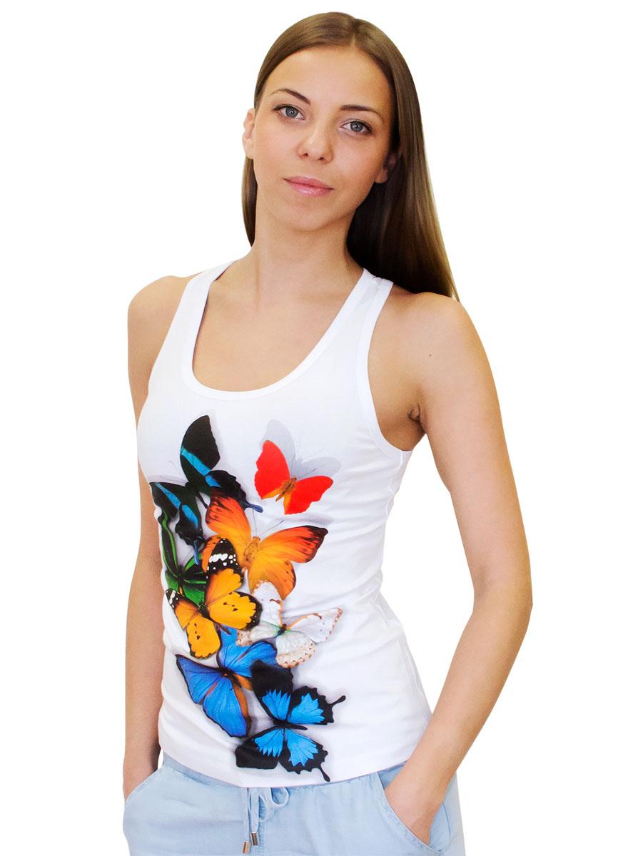Майка женская MF Бабочки 3D, цвет: белый. 4-1. Размер XS (42)4-1Женская майка-борцовка MF Бабочки 3D с круглым вырезом горловины выполнена из хлопка с добавлением эластана. Оформлена модель ярким принтом.