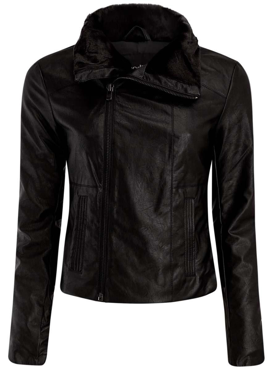Куртка18A04007/45263/2900NЖенская куртка oodji Ultra изготовлена из высококачественной вискозы с полиуретановым покрытием. В качестве утеплителя используется полиэстер. Модель с воротником-стойка застегивается на застежку-молнию. Воротник с внутренней стороны оформлен искусственным мехом. Спереди расположены два прорезных кармана. Манжеты рукавов дополнены застежками-молниями.