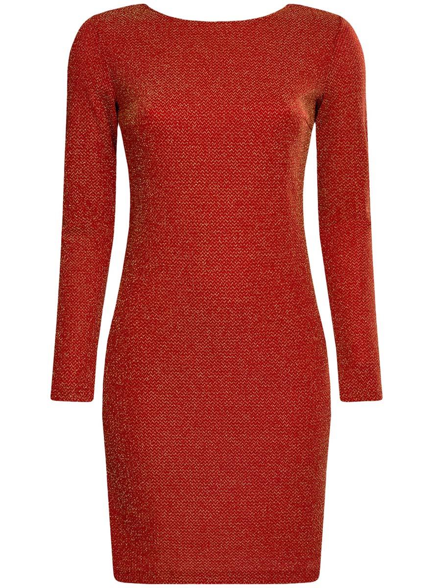 Платье14000165-1/46124/2900XПлатье oodji Ultra исполнено из мягкой облегающей ткани с вкраплениями нити цвета металлик. Имеет длинные рукава и V-образный вырез горловины. Платье плотно садится по фигуре.