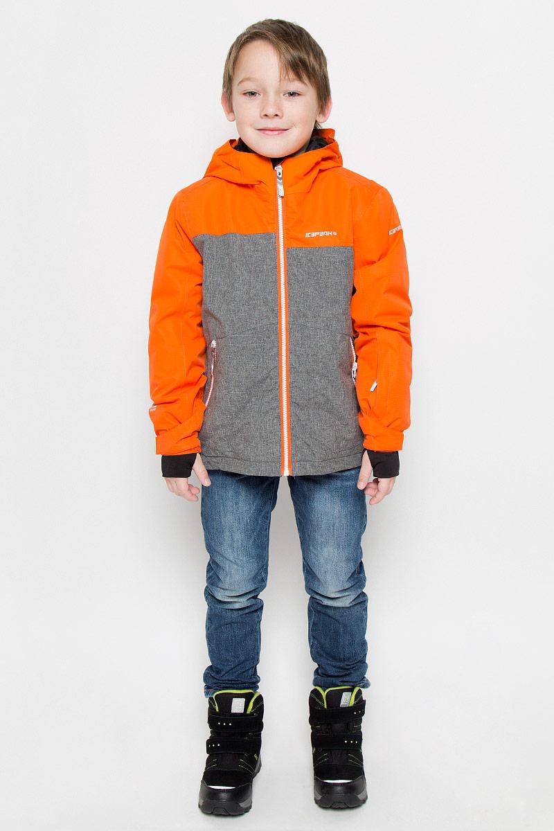 Куртка для мальчика Icepeak Harry Jr, цвет: оранжевый, серый. 650025805IV. Размер 176650025805IVКуртка, изготовленная из водоотталкивающей и ветрозащитной ткани, утеплена синтепоном. В качестве подкладки используется полиэстер. Куртка с капюшоном застегивается на молнию. Капюшон не отстегивается. Рукава дополнены внутренними манжетами с отверстиями для большого пальца. Также манжеты дополнены хлястиками на липучках. С внутренней стороны у модели предусмотрена снегозащитная юбка. Куртка дополнена двумя врезными карманами на застежках-молниях и потайными карманами на молнии и для шапки. На левом рукаве предусмотрен карман для ski pass. Низ куртки дополнен кулиской со стопперами.Изделие дополнено светоотражающим элементом для безопасности ребенка в темное время суток.