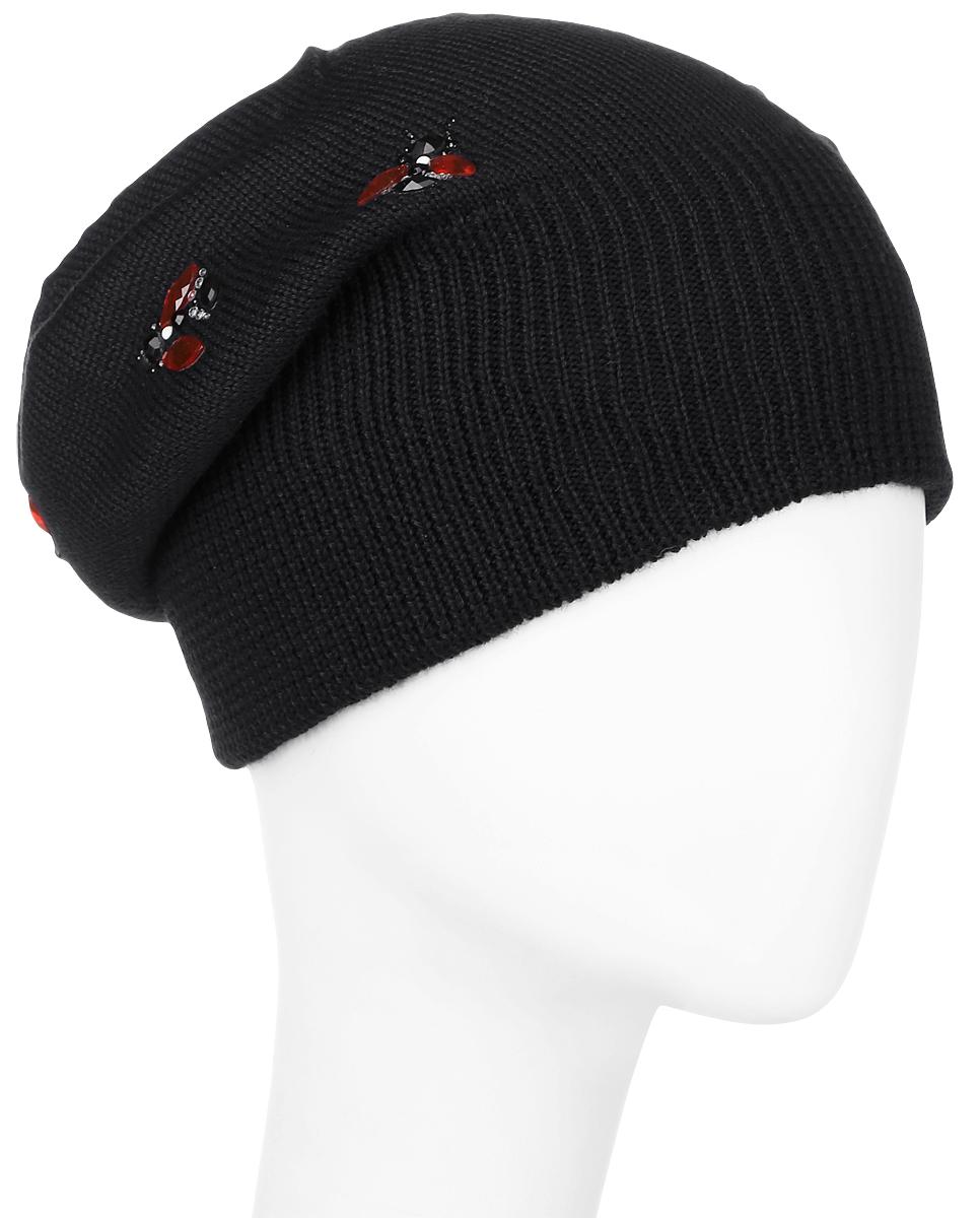 ШапкаW16-32131_211Женская шапка Finn Flare выполнена из шерсти и акрила. Модель оформлена аппликацией из стразов. Уважаемые клиенты! Размер, доступный для заказа, является обхватом головы.