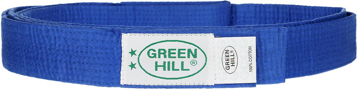 Пояс для карате Green Hill, цвет: синий. KBO-1014. Размер 240KBO-1014Пояс для карате Green Hill - универсальный пояс для кимоно. Пояс выполнен из плотного хлопкового материала с многорядной прострочкой. Модель дополнена текстильной нашивкой с названием бренда.