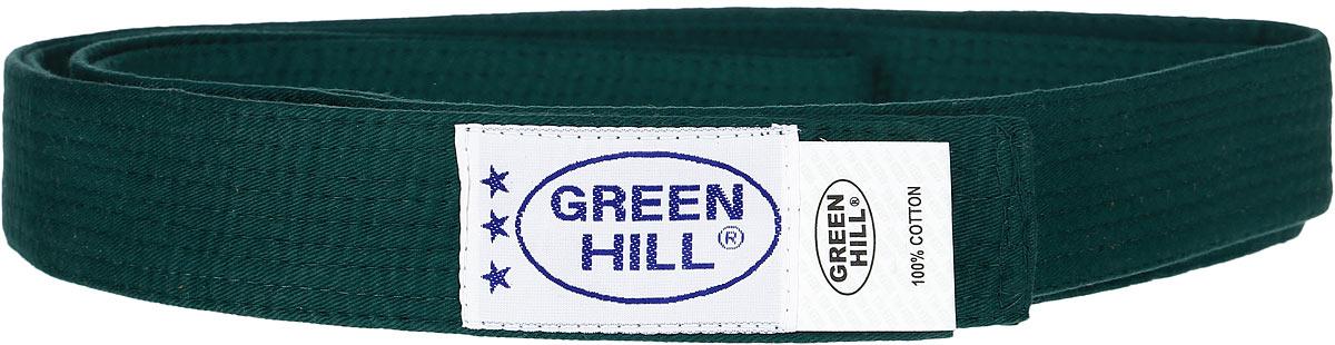 Пояс для карате Green Hill, цвет: зеленый. KBO-1014. Размер 260KBO-1014Пояс для карате Green Hill - универсальный пояс для кимоно. Пояс выполнен из плотного хлопкового материала с многорядной прострочкой. Модель дополнена текстильной нашивкой с названием бренда.