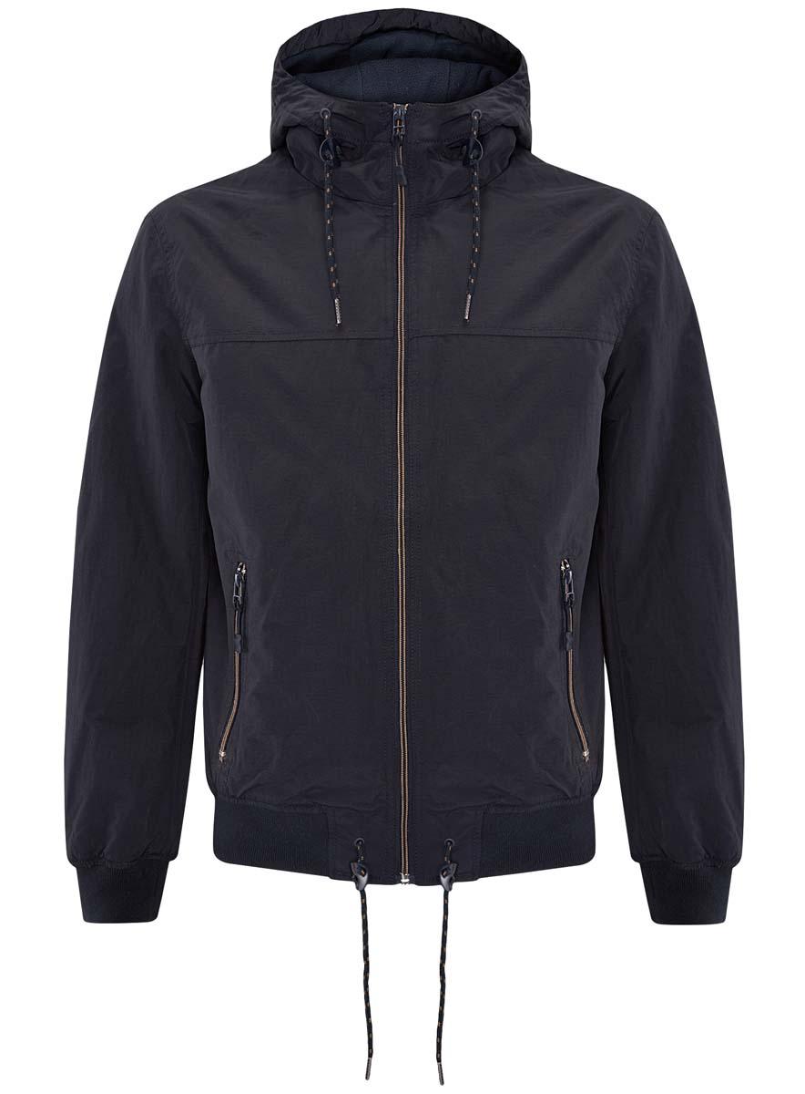 Куртка мужская oodji, цвет: темно-синий. 1L512014M/25276N/7900N. Размер M (50-182)1L512014M/25276N/7900NМужская куртка oodji выполнена из 100% полиэстера. В качестве подкладки также используется полиэстер. Модель с несъемным капюшоном застегивается на застежку-молнию. Край капюшона дополнен шнурком-кулиской. Низ рукавов и низ изделия обработаны эластичными манжетами. Низ изделия также дополнен шнурком-кулиской. Спереди расположено два прорезных кармана на застежках-молниях, а с внутренней стороны - прорезной карман на застежке-молнии.
