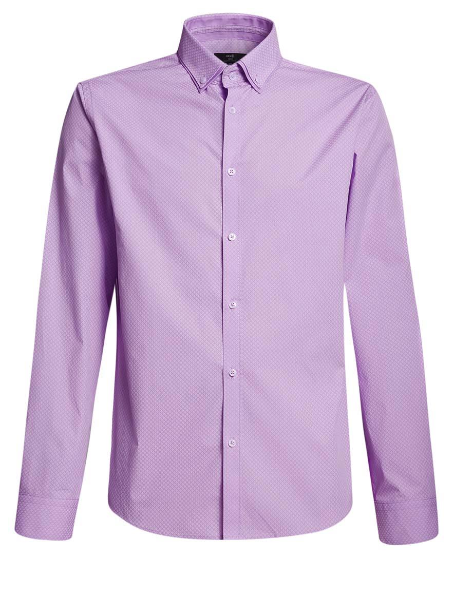 Рубашка мужская oodji, цвет: сиреневый, белый. 3L110225M/19370N/8010G. Размер 39 (46-182)3L110225M/19370N/8010GСтильная мужская рубашка oodji выполнена из натурального хлопка. Модель с отложным воротником и длинными рукавами застегивается на пуговицы спереди. Манжеты рукавов дополнены застежками-пуговицами.
