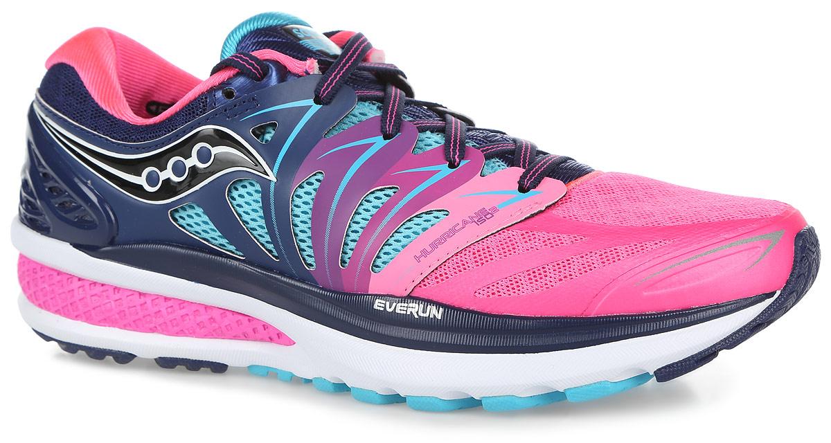 Кроссовки для бега женские Saucony Hurricane Iso 2, цвет: синий, розовый. S10293-4. Размер 8,5 (39)S10293-4Женские кроссовки Hurricane Iso 2 от Saucony разработаны специально для бега.Верх выполнен из дышащего текстиля со вставками из искусственной кожи и термополиуретана. Верх с технологией Isofit обеспечивает надежную и максимально удобную поддержку ноги. Материал подкладки, выполненный по технологии Rundry, и вставки из сетки эффективно отводят влагу.Стелька из EVA с текстильной поверхностью комфортна при беге. Шнуровка надежно фиксирует модель на ноге.Технология Everun обеспечивает амортизацию в пяточной части и уменьшаетнагрузку на переднюю часть стопы при отталкивании.Подошва с системой Pwrgrid+ разработана на базе технологии PowerGrid: материал Powerfoam интегрирован с технологией Grid, что позволяет оптимально поглощать нагрузки и распределять давление. Система Pwrgrid+ обеспечивает увеличение амортизации более чем на 20% и более чем на 15% устойчивости, чем предыдущая система PowerGrid, результатом чего являются наиболее комфортные ощущения при беге.Специальный рисунок протектора и подошва XT-900 гарантируе оптимальное сцепления с поверхностью.