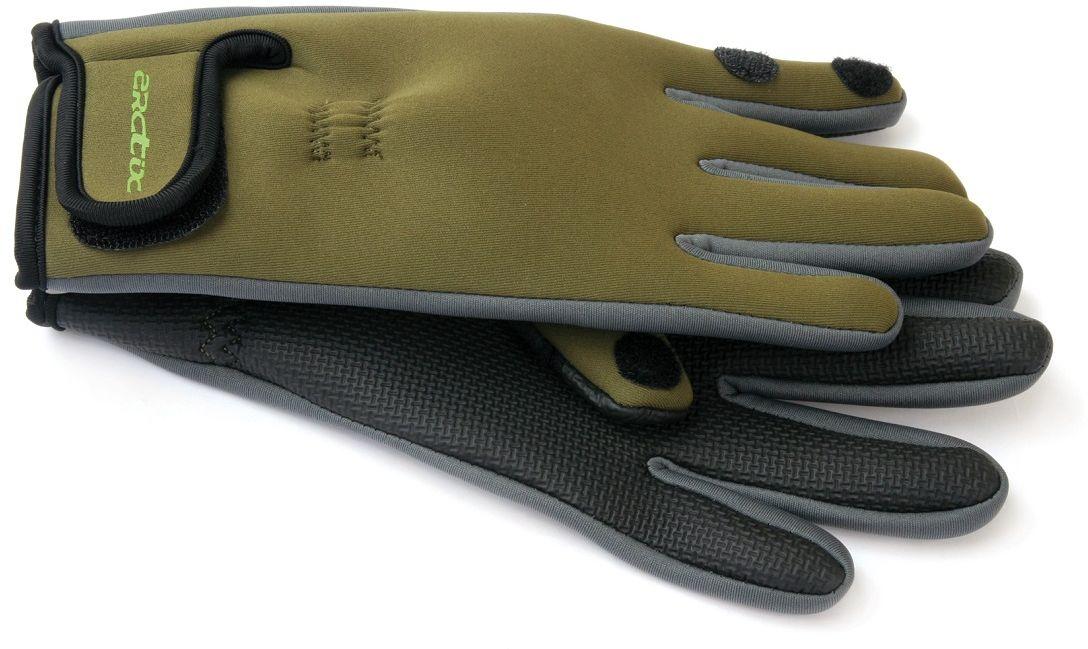 Перчатки Arctix для рыбалки, цвет: оливковый. 807-00050. Размер XL (26)807Перчатки применяются для рыбалки, охоты, туризма, альпинизма и других видов активного отдыха. Качественный материал обладает высокой защитой от ветра и от влаги, что делает область применения аксессуара очень широкой. Указательный и большой палец перчаток имеет прорезь и может крепится на липучке, освобождаю пальцы. Данная особенность позволяет рыбакам без труда и дискомфорта насадить приманку. Перчатки имеют удобную застежку на запястье. Непромокаемые.Неопреновые перчатки Arctix защищают руки от ветра и влаги. Обеспечивают идеальный комфорт, идеально прилегая к руке.