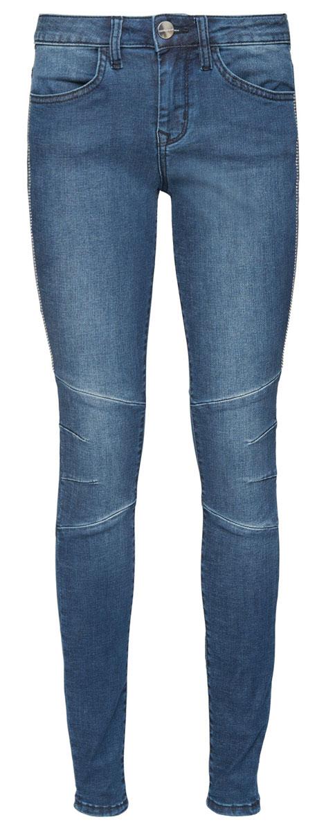 Джинсы6205194.01.75_1392Женские джинсы Tom Tailor Contemporary Alexa выполнены из высококачественного эластичного хлопка с добавлением полиэстера и модала. Джинсы-скинни стандартной посадки застегиваются на пуговицу в поясе и ширинку на застежке-молнии, дополнены шлевками для ремня. Джинсы имеют классический пятикарманный крой: спереди модель дополнена двумя втачными карманами и одним маленьким накладным кармашком, а сзади - двумя накладными карманами. Джинсы украшены декоративными швами и клепками.