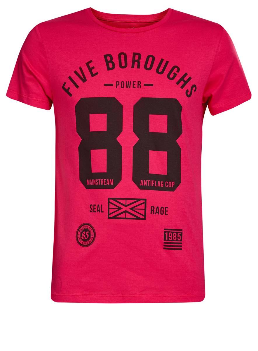 Футболка5B621002I/44135N/23BFPМужская футболка oodji Basic изготовлена из высококачественного натурального хлопка. Модель с короткими рукавами и круглым вырезом горловины украшена принтом с надписью Five Boroughs Power 88 Seal Rage.