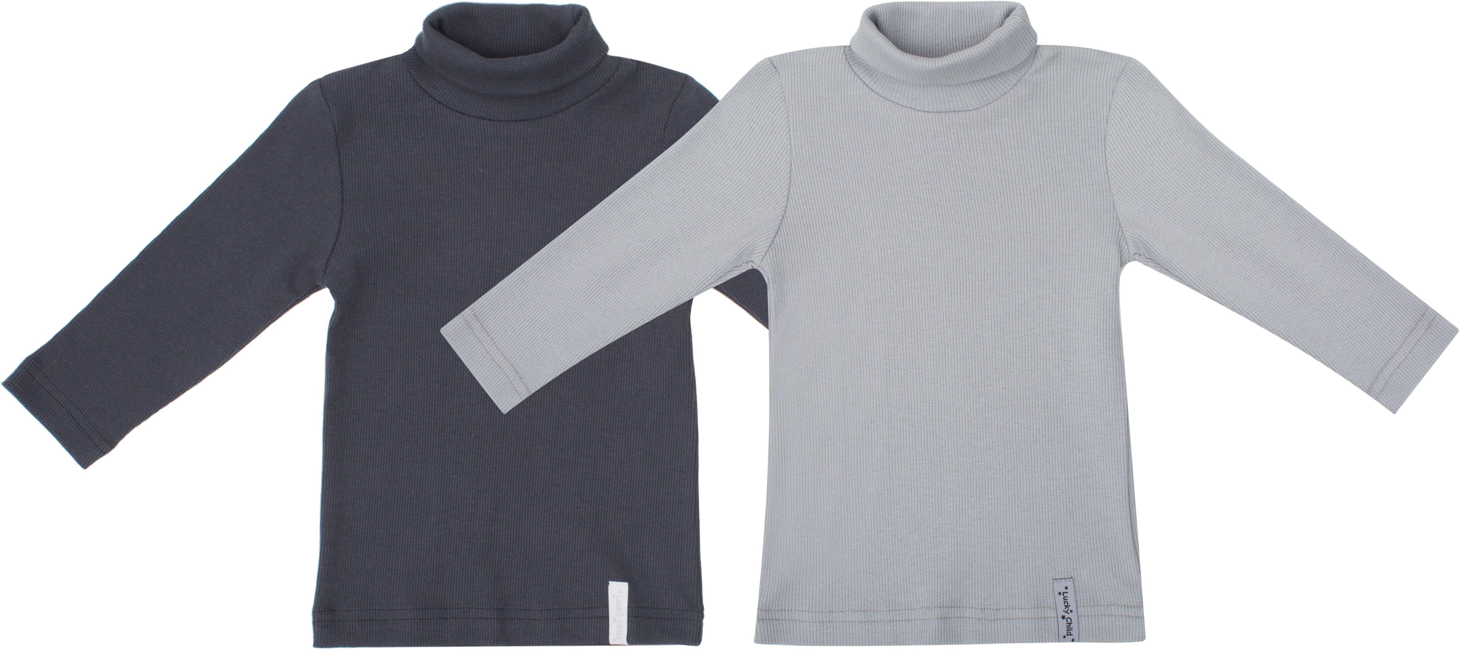 Водолазка для мальчика Lucky Child Дуэт, цвет: серый, темно-серый, 2 шт. 33-23. Размер 80/8633-23Водолазки давно покорили все мировые подиумы. Этот предмет одежды не только стильный, но ещё и функциональный. Водолазки из коллекции Дуэт представлены в двух базовых цветах, их легко сочетать с любой одеждой.