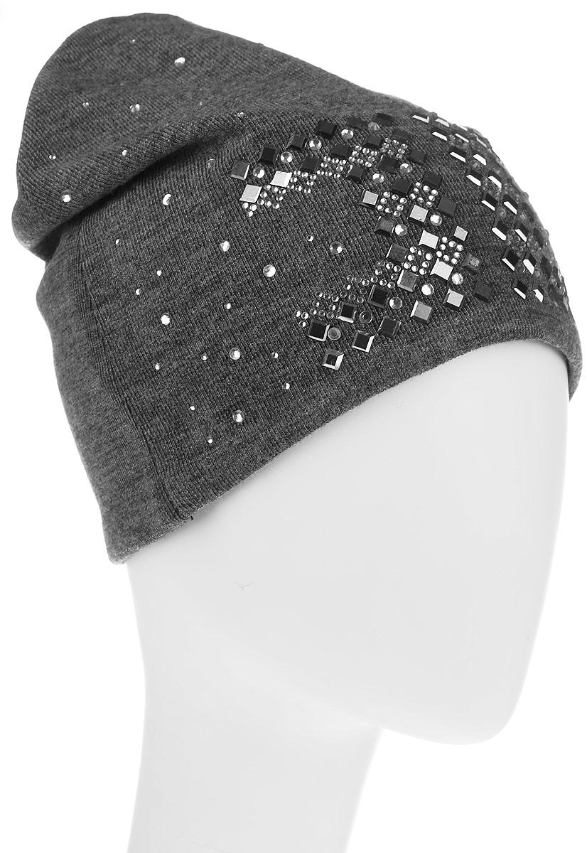 Шапка383549Стильная женская шапка Level Pro дополнит ваш наряд и не позволит вам замерзнуть в холодное время года. Шапка выполнена из шерсти и полиэстера, что позволяет ей великолепно сохранять тепло, и обеспечивает высокую эластичность и удобство посадки. Изделие дополнено трикотажной подкладкой и оформлено оригинальным принтом выложенным из страз. Такая шапка составит идеальный комплект с модной верхней одеждой, в ней вам будет уютно и тепло.