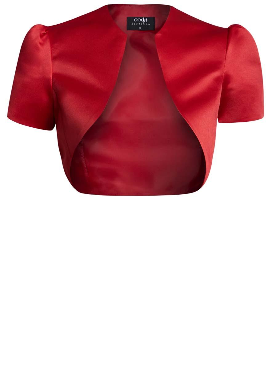 Болеро женское oodji, цвет: красный. 22A00003-2/24393/4500N. Размер 38 (44-170)22A00003-2/24393/4500NОригинальное болеро изготовлено из полиэстера на гладкой подкладке.Модель с V-образным вырезом горловины и короткими рукавами-фонариками.Болеро - отличное дополнение к кофточке или платью.