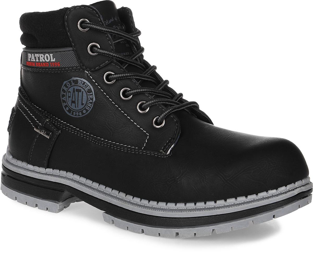 Ботинки женские Patrol, цвет: черный. 261-143IM-17w-04-1. Размер 37261-143IM-17w-04-1Женские ботинки от Patrol выполнены из искусственного нубука, на язычке и сбоку оформлены тиснением с логотипом бренда. Подкладка, исполненная из искусственного меха, сохранит ваши ноги в тепле. Съемная стелька EVA с поверхностью из искусственного меха обеспечивает отличную амортизацию и максимальный комфорт. Шнуровка позволяет оптимально зафиксировать модель на ноге. Подошва, выполненная из термопластичного материала, обеспечит надежное сцепление на любых поверхностях.