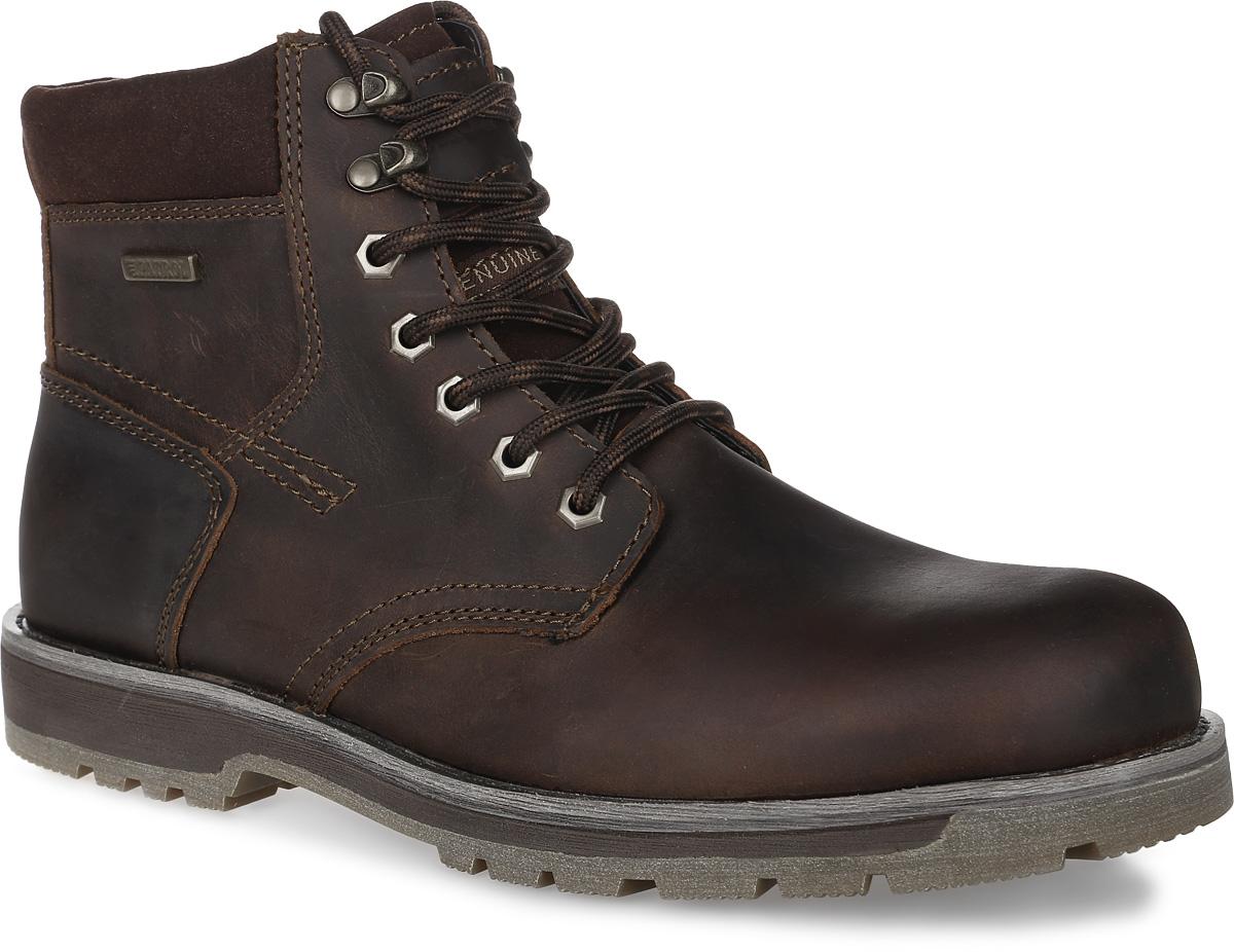Ботинки мужские Patrol, цвет: темно-коричневый. 456-9850B-17w-1-6. Размер 41456-9850B-17w-1-6Мужские ботинки от Patrol выполнены из натуральной кожи и оформлены на язычке нашивкой с фирменным логотипом бренда. Подкладка, исполненная из байки, сохранит ваши ноги в тепле. Съемная стелька EVA с поверхностью из байки обеспечивает отличную амортизацию и максимальный комфорт. Шнуровка позволяет оптимально зафиксировать модель на ноге. Резиновая подошва обеспечит надежное сцепление на любых поверхностях.