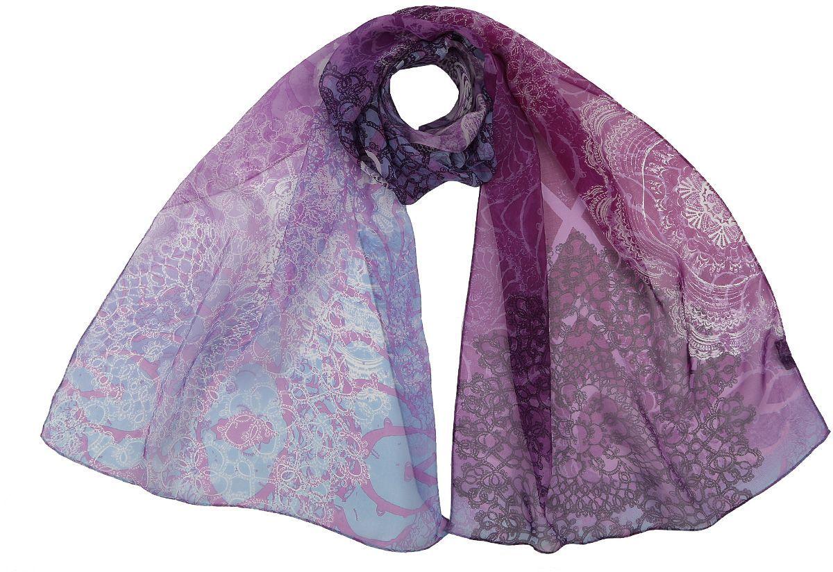 Шарф женский Fabretti, цвет: синий. CLSCF-06-3. Размер 180 см х 55 смCLSCF-06-3Полупрозрачный струящийся шарф Fabretti оформлен оригинальным принтом. Данный аксессуар может стать изюминкой практически любого наряда.