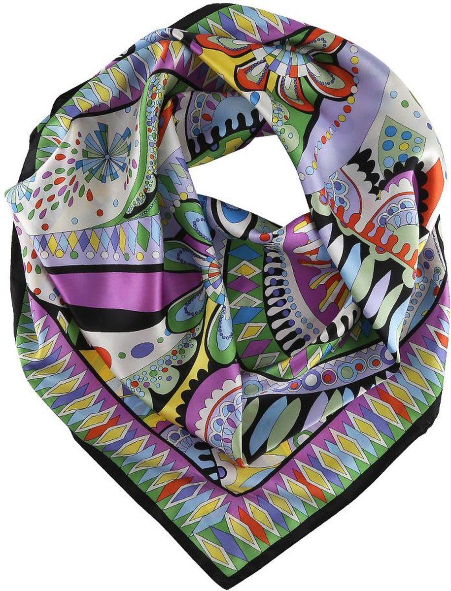 Платок Fabretti, цвет: мультиколор. 14YL020-A. Размер 90 см х 90 см14YL020-AПлаток Fabretti окутывает своего обладателя качеством и комфортом. Модель декорирована очаровательным рисунком.