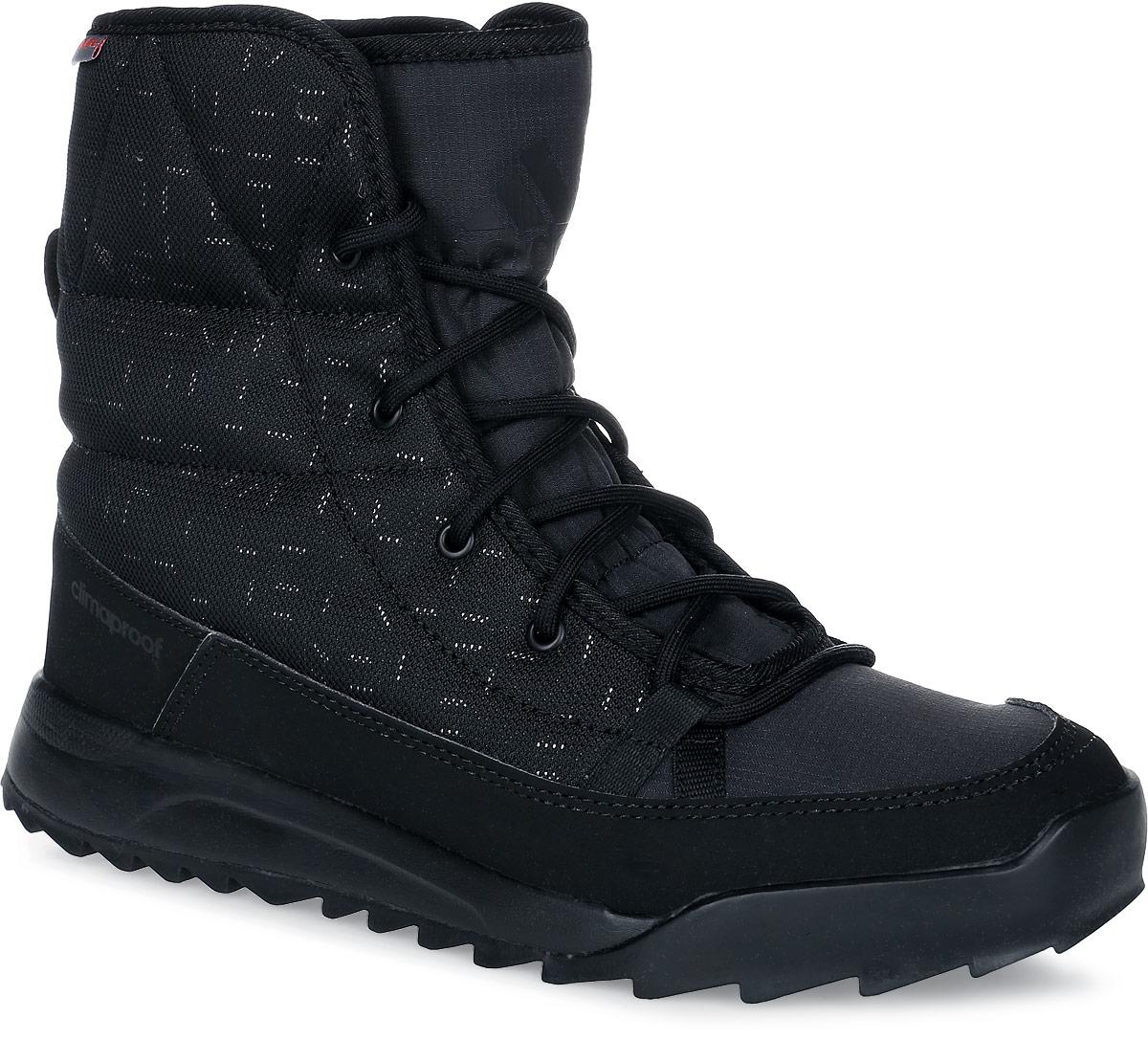 БотинкиAQ4261Женские туристические ботинки CW Choleah Padded C от adidas, выполненные из водонепроницаемого материала Climaproof с утеплителем PrimaLoft сохранят ваши ноги в тепле и сухости на заснеженных тропах и холодных улицах. Высокотехнологичный синтетический наполнитель PrimaLoft продолжает греть даже во влажном состоянии. Текстильный верх со светоотражающим принтом и дизайн адаптирован под особенности женской стопы. Модель дополнена вставками из синтетических материалов для износостойкости. Резиновая подошва Traxion с глубоким протектором для оптимального сцепления сохраняет свои свойства в течение долгого времени.