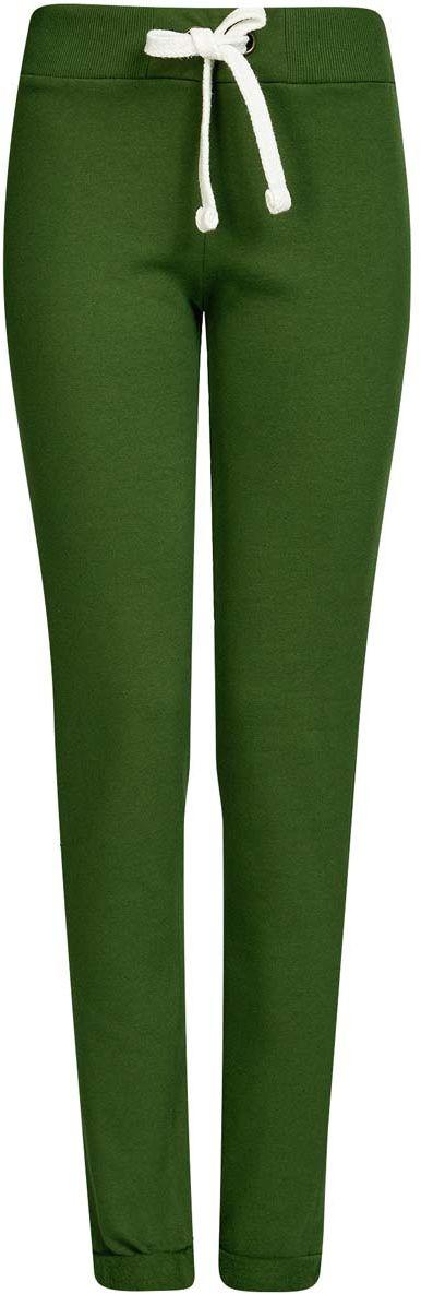 Брюки спортивные женские oodji Ultra, цвет: темно-зеленый. 16701010B/46980/6900N. Размер S (44)16701010B/46980/6900NСпортивные женские брюки oodji Ultra выполнены из натурального хлопка. Изнаночная сторона изделия с мягким начесом. Модель имеет широкую резинку на поясе, объем талии регулируется при помощи шнурка-кулиски. Сзади брюки дополнены имитацией прорезного кармана. Снизу брючины оснащены декоративными отворотами на резинках.