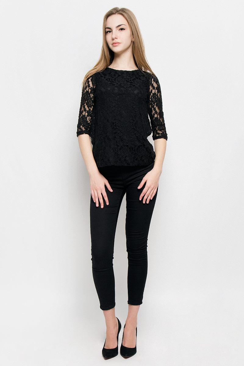 Блузка10157002_001Женская блуза Broadway Virgia с рукавами до локтя и круглым вырезом горловины выполнена из хлопка с добавлением полиамида и эластана. Блузка оформлена кружевом с цветочным узором и дополнена непрозрачной подкладкой.