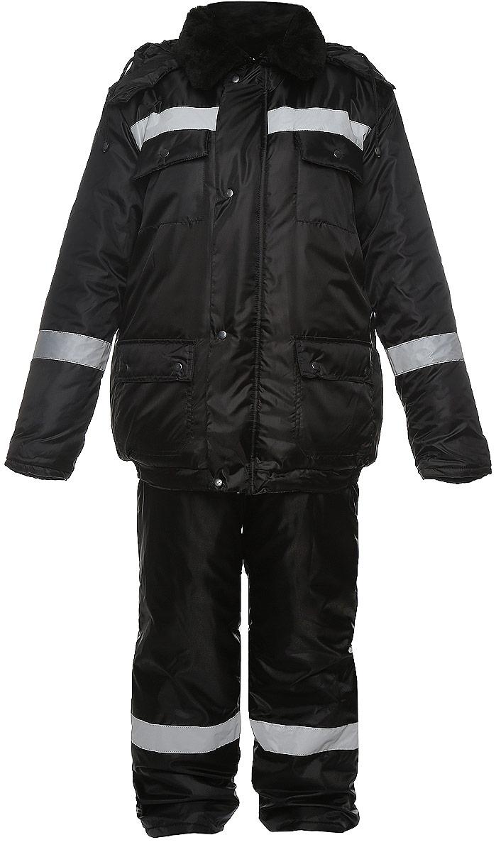 Костюм рыболовный мужской Рыболов: куртка, полукомбинезон, цвет: черный. Размер 56/58, рост 182/188РыболовМужской утепленный костюм Рыболов выполнен из ветрозащитной и влагонепроницаемой ткани - высококачественного полиэстера. В качестве утеплителя используется термофайбер. Утеплитель термофайбер изготовлен по технологии термофиксации с применением извитых полых волокон. Костюм состоит из куртки и полукомбинезона. Куртка с отложным воротником и съемным капюшоном, дополненным шнурком, застегивается на застежку-молнию и дополнительно на ветрозащитный клапан с кнопками. Капюшон оснащен застежками-кнопками. Внутренняя сторона воротника выполнена из мягкой ткани - поларфлис. Спереди расположены четыре накладных кармана с клапанами на кнопках. Манжеты рукавов дополнены трикотажными напульсниками. Низ куртки присборен на резинки. Полукомбинезон застегивается на застежку молнию. Спереди расположены два накладных кармана с клапанами, на груди - два накладных открытых кармана. Изделие оснащено эластичными регулирующими лямки с застежками-фактекс. На спинке, по линии талии изделие присборено на резинки. Светоотражающие нашивки увеличат вашу безопасность в темное время суток.
