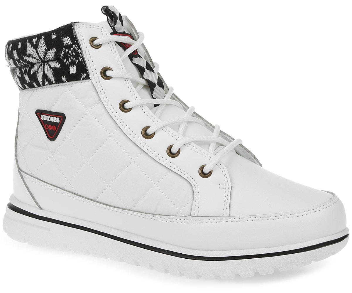 Ботинки женские Strobbs, цвет: белый. F8168-6. Размер 39F8168-6Стильные женские ботинки Strobbs, выполненные в спортивном стиле, прекрасно подойдут для активного отдыха и повседневной носки. Верх изготовлен из микрофибры и оформлен вставками из текстиля. Подкладка из искусственного меха не даст ногам замерзнуть. Удобная шнуровка надежно зафиксирует модель на стопе. Подошва обеспечит легкость и естественную свободу движений. Сбоку ботинки украшены логотипом бренда. Модель маломерит на 1 размер. В таких ботинках вашим ногам будет тепло и комфортно.