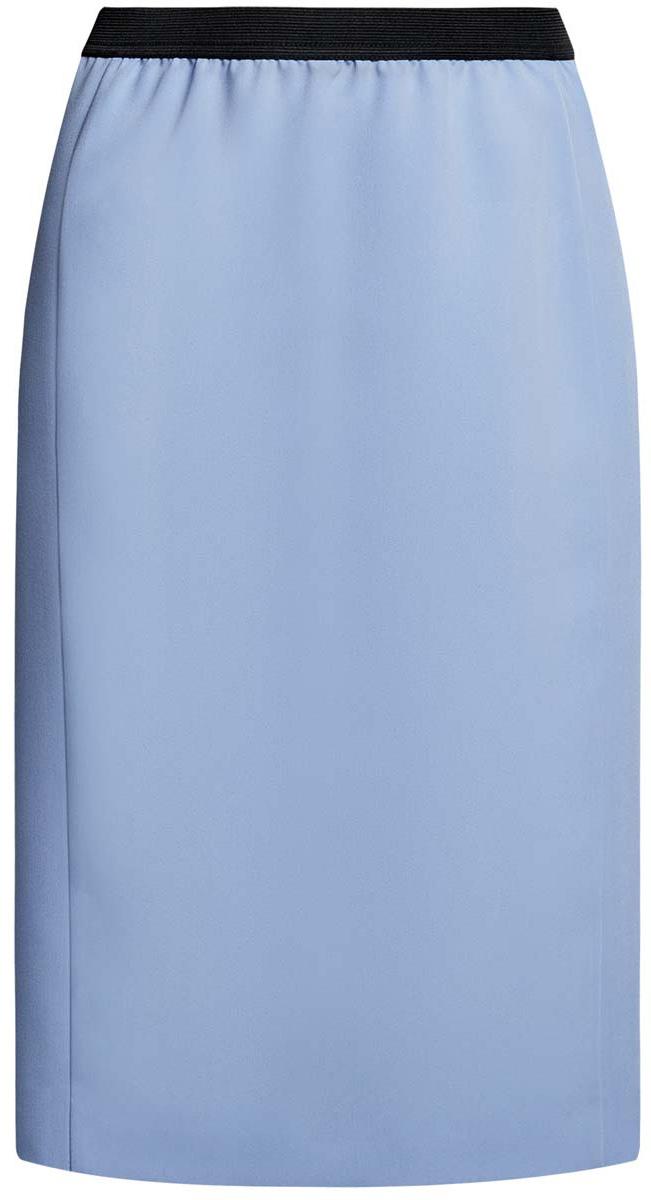 Юбка oodji Ultra, цвет: голубой. 11602177/38253/7000N. Размер 38 (44-170)11602177/38253/7000NСтильная юбка oodji Ultra выполнена из качественного комбинированного материала. Модель-карандаш дополнена в поясе эластичной резинкой, а сзади - небольшой разрез.