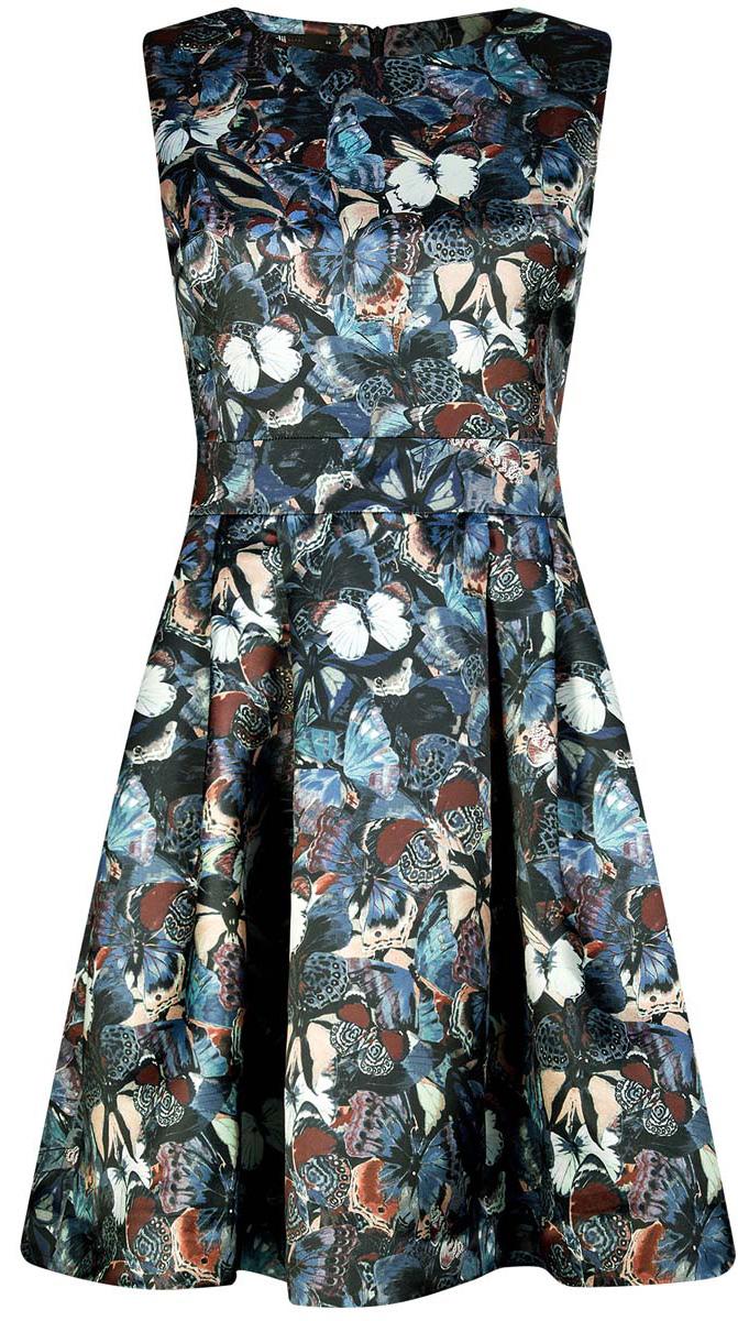 Платье11902151/24393/7929UСтильное платье oodji Ultra полностью выполнено из полиэстера. Модель с расклешенной юбкой, круглым вырезом и без рукавов застегивается на молнию на спине.