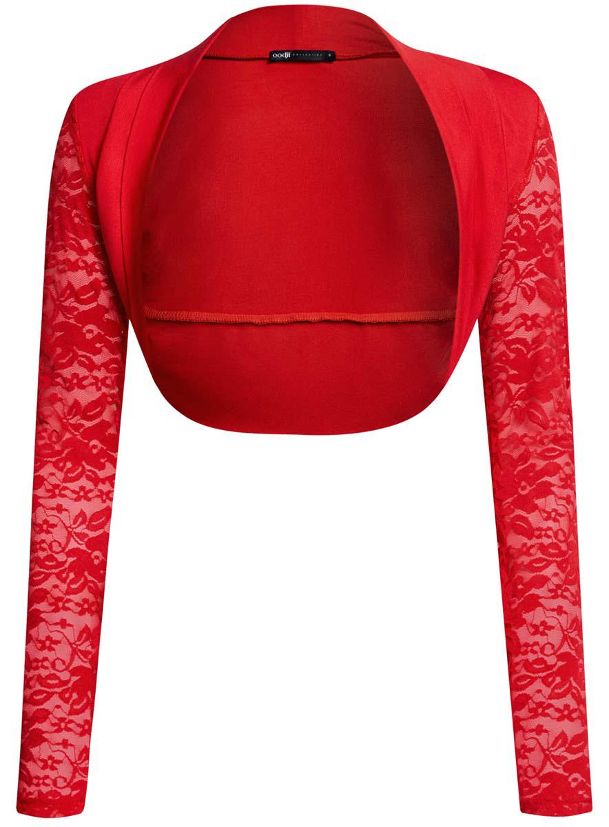 Болеро женское oodji Collection, цвет: красный. 24600001-1/45099/4500N. Размер XS (42)24600001-1/45099/4500NОригинальное болеро oodji Collection изготовлено из качественного комбинированного материала.Модель с длинными рукавами, которые изготовлены из элегантного кружева.Болеро - отличное дополнение к кофточке или платью.