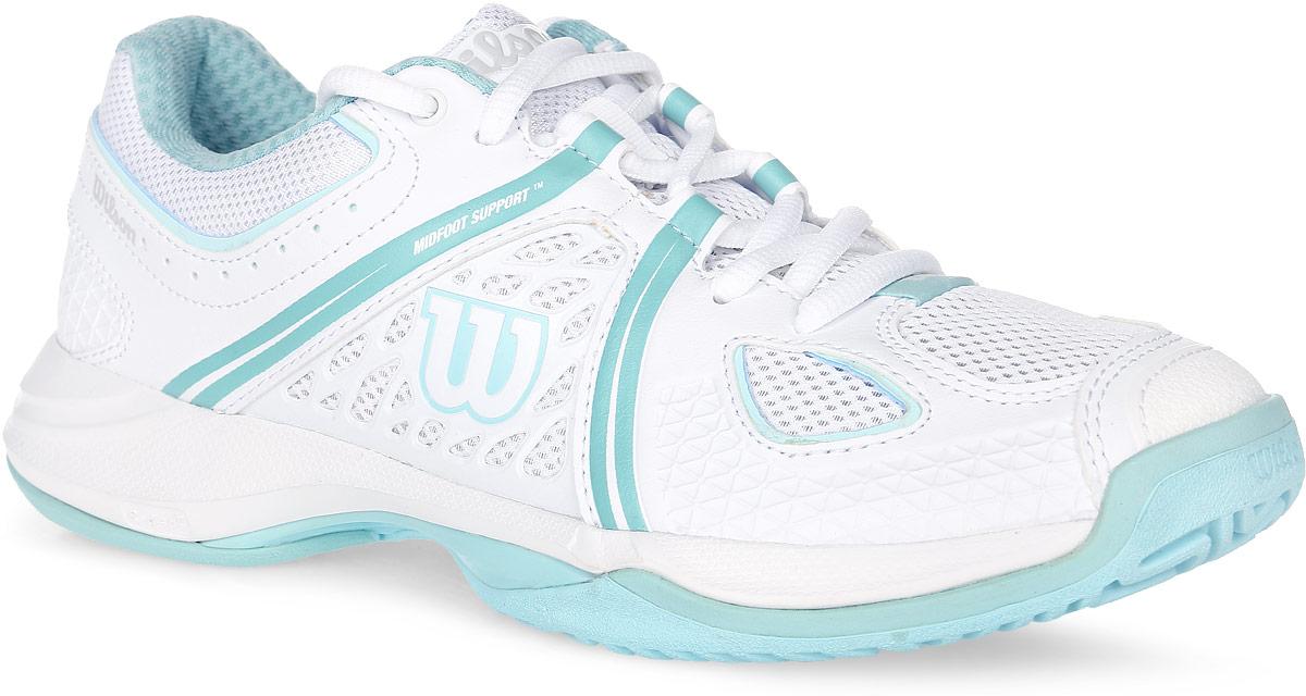 Кроссовки для тенниса женские Wilson Nvision, цвет: белый, бирюзовый. WRS320840. Размер 3,5 (35)WRS320840Стильные женские кроссовки для тенниса Nvision от Wilson предлагают теннисистам необходимый им комфорт и гибкость. Универсальные кроссовки с высококлассной устойчивостью и комфортом. Верх модели выполнен из искусственной кожи с перфорацией, дополненной вставками из дышащего текстиля, и оформлен фирменными полосками, названием и логотипом бренда. Классическая шнуровка гарантирует удобство и надежно фиксирует модель на ноге. Усиленный мыс для более надежной защиты. Съемная стелька EVA с внешней текстильной поверхностью обеспечивает комфорт и амортизацию. Резиновая рельефная подошва улучшает сцепление с поверхностью и обеспечивает ногам особый комфорт.В таких кроссовках вашим ногам будет комфортно и уютно.