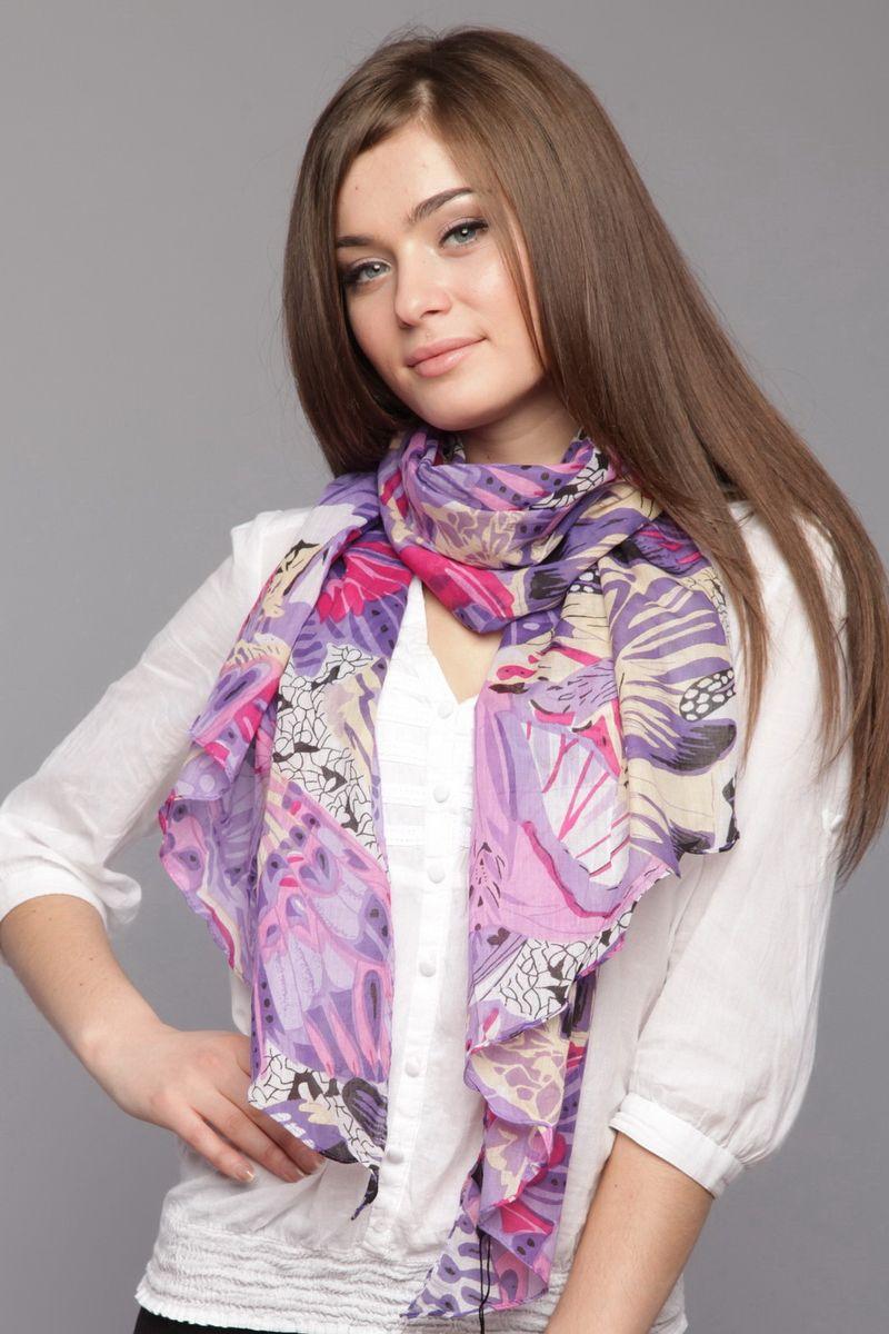 ШарфSK-0008-1Стильный женский шарф Laura Milano станет великолепным завершением любого наряда. Шарф изготовлен из натурального хлопка и оформлен принтом с изображением бабочек. Изящный шарф поможет вам создать изысканный женственный образ, а также согреет в непогоду.