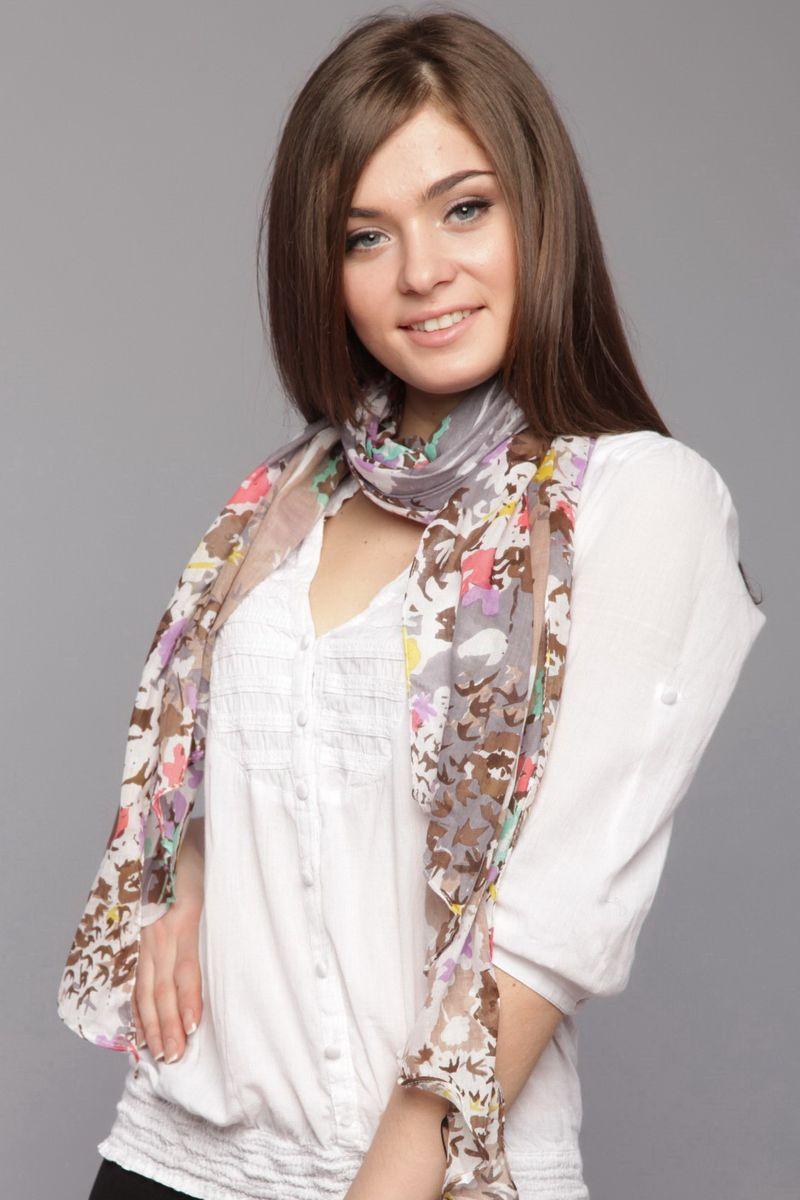 Шарф женский Laura Milano, цвет: серый, коричневый, белый. SK-0009-1. Размер 50 см х 180 смSK-0009-1Стильный женский шарф Laura Milano станет великолепным завершением любого наряда.Шарф изготовлен из натурального хлопка и оформлен цветочным принтом, а также принтом с изображением птичек.Изящный шарф поможет вам создать изысканный женственный образ, а также согреет в непогоду.