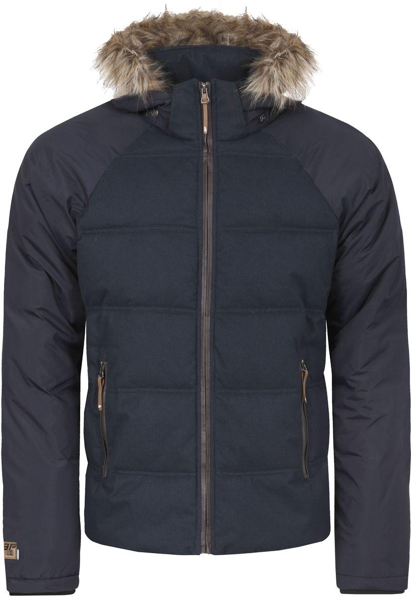 Куртка656045562IV_390Мужская куртка Icepeak Tony выполнена из водонепроницаемой и дышащей ткани - высококачественного полиэстера. Подкладочный материал Soft Touch легкий и обладает хорошей теплоемкостью. В качестве наполнителя используется FinnWad - 100% полиэстер. Модель с воротником-стойка и съемным капюшоном застегивается на застежку-молнию. Капюшон, оформленный искусственным мехом, пристегивается к куртке с помощью застежки-молнии, кнопок и липучек. Изделие оснащено двумя прорезными карманами на застежках-молниях, с внутренней стороны - прорезным карманом на застежке-молнии и сетчатым карманом. Рукава дополнены внутренними трикотажными манжетами. Объем капюшона регулируется при помощи шнурка. Низ изделия также оснащен эластичным шнурком со стопперами. Светоотражающие элементы увеличивают вашу безопасность в темное время суток.