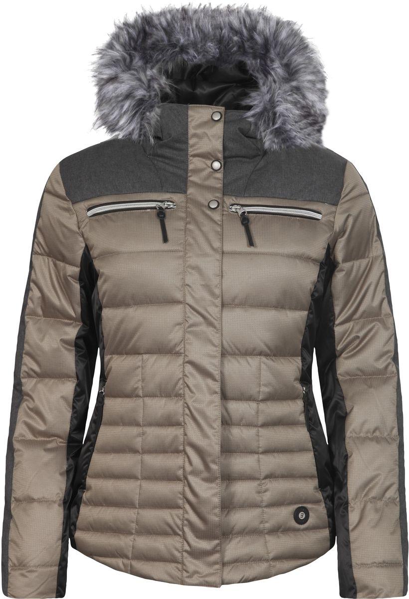Куртка653224512IVКуртка Icepeak, изготовленная из водоотталкивающей и ветрозащитной ткани, которая создает оптимальный микроклимат внутри куртки, утеплена синтепоном. В качестве подкладки используется полиамид. Куртка с несъемным капюшоном застегивается на застежку-молнию и имеет ветрозащитный клапан на кнопках. Капюшон оформлен съемным искусственным мехом на застежке-молнии и регулируется с помощью эластичного шнурка-кулиски со стопперами. Куртка оформлена четырьмя втачными карманами на застежках-молниях спереди, с внутренней стороны расположен один втачной карман на молнии. Низ куртки дополнен шнурком-кулиской со стопперами. Также модель дополнена снегозащитной юбкой на кнопках. Изделие оснащено светоотражающими элементами.