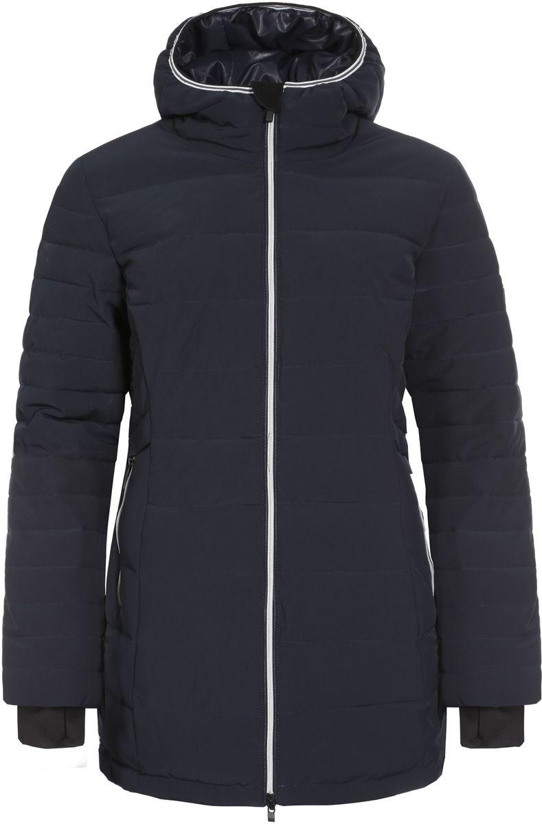 Куртка636466535LV_390Женская куртка Icepeak Petrina выполнена из эластичного полиэстера. Наполнитель - материал FinnWad. Куртка с несъемным капюшоном застегивается на удобную застежку-молнию спереди. Молния дополнена защитой для подбородка. Рукава оснащены внутренними манжетами. Спереди расположены два втачных кармана на застежках-молниях, изнутри - втачной карман на застежке-молнии. Низ куртки дополнен шнурком-кулиской со стопперами.