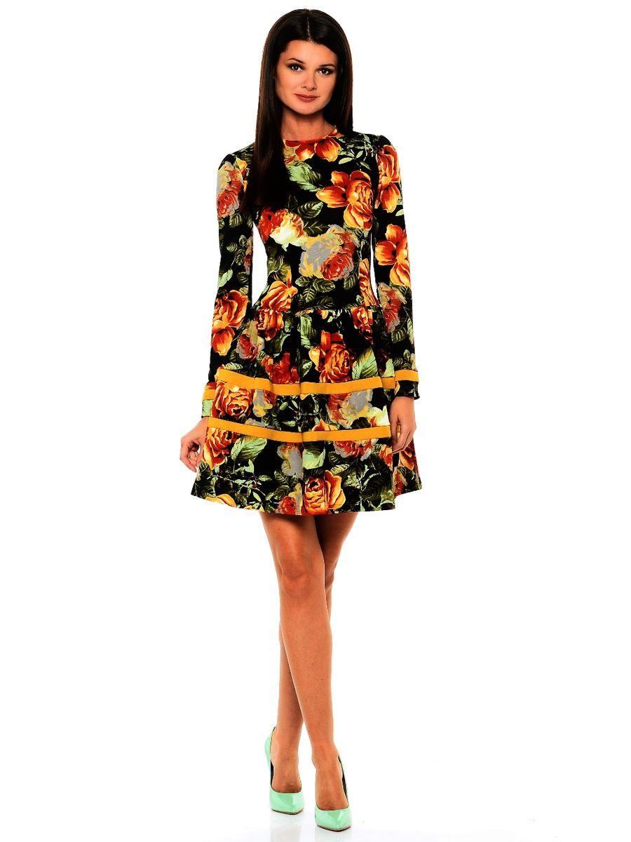 Платье La Via Estelar, цвет: черный, темно-зеленый, оранжевый. 14988-4. Размер 4414988-4Платье La Via Estelar имеет приталенный силуэт. Выполнено с юбкой-фонариком и классическим длинным рукавом. Дополнено вставками-полосками. Вплотную садится по фигуре.