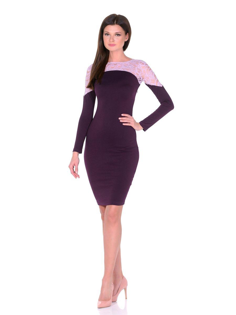 Платье14672Роскошное платье La Via Estelar выполнено из вискозы и полиэстера с добавлением лайкры. Верх платья оформлен кружевной вставкой. Модель миди-длины с круглым вырезом горловины и длинными рукавами. Имеет скрытую застежку-молнию сбоку.