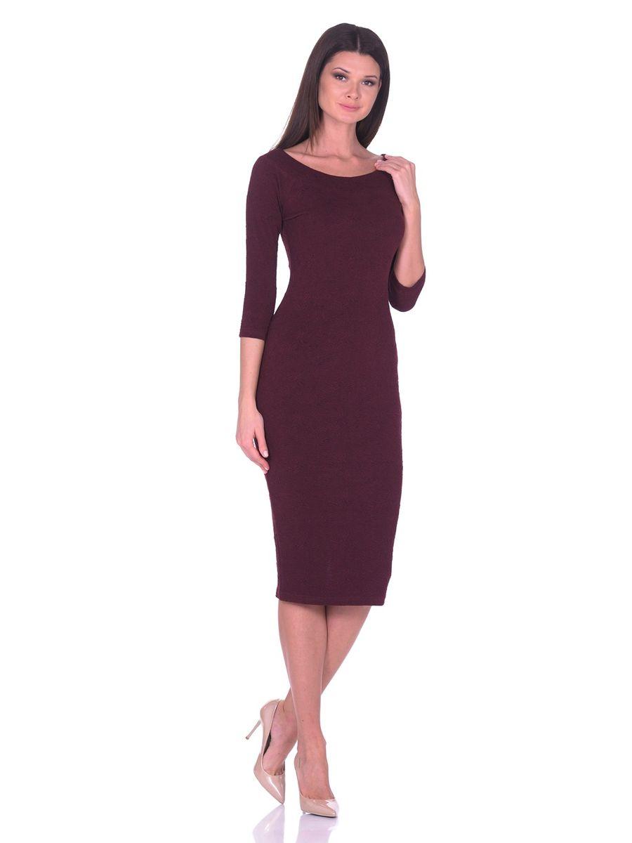 Платье La Via Estelar, цвет: бордовый. 14671-2. Размер 4214671-2Идеальное платье на любой случай La Via Estelar выполнено из эластичного фактурного материала. Модель облегающего фасона, длины ниже колена, с рукавом три четверти, разрезом сзади и вырезом горловины лодочка. Платье отлично подчеркивает фигуру, создавая привлекательный образ.