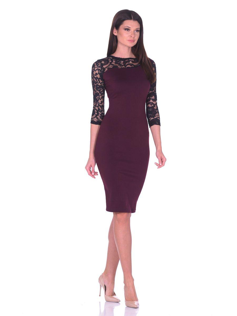 Платье14669-1Платье La Via Estelar выполнено из хлопка и полиэстера. Модель с круглым вырезом горловины и рукавом 3/4 оформлена кружевом из вискозы, полиэстера и эластана. Платье-миди дополнено вытачками и застегивается сбоку на молнию.