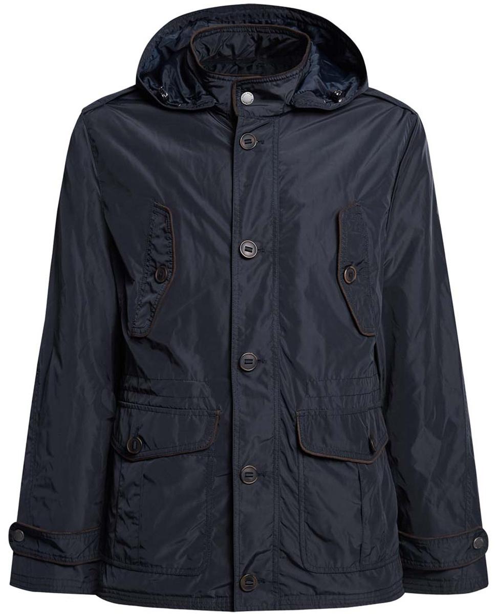 Куртка1L412019M/44080N/7900NМужская куртка с утеплителем oodji изготовлена из полиэстера. Модель застёгивается на застежку-молнию, пуговицы и кнопку на воротнике. С внутренней стороны куртки в районе талии имеется утягивающая резинка с фиксаторами. Капюшон пристегнут на молнию, его размер фиксируется резинкой-утяжкой и хлястиком. Спереди расположено четыре кармана под клапанами на пуговицах. С внутренней стороны куртки расположен врезной карман на застежке-молнии. По низу рукава дополнены хлястиками и кнопками для регулировки ширины.