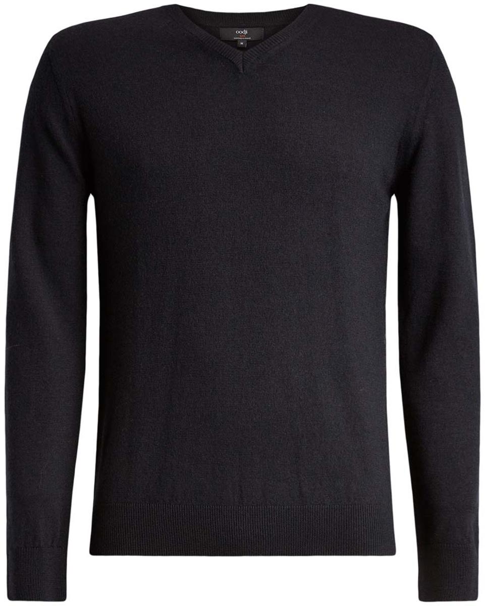Пуловер4L214005M/44359N/2500MМужской джемпер oodji Lab полностью выполнен из шерсти. Модель с V-образным вырезом и длинными рукавами. Вырез горловины и манжеты рукавов дополнены эластичной резинками.
