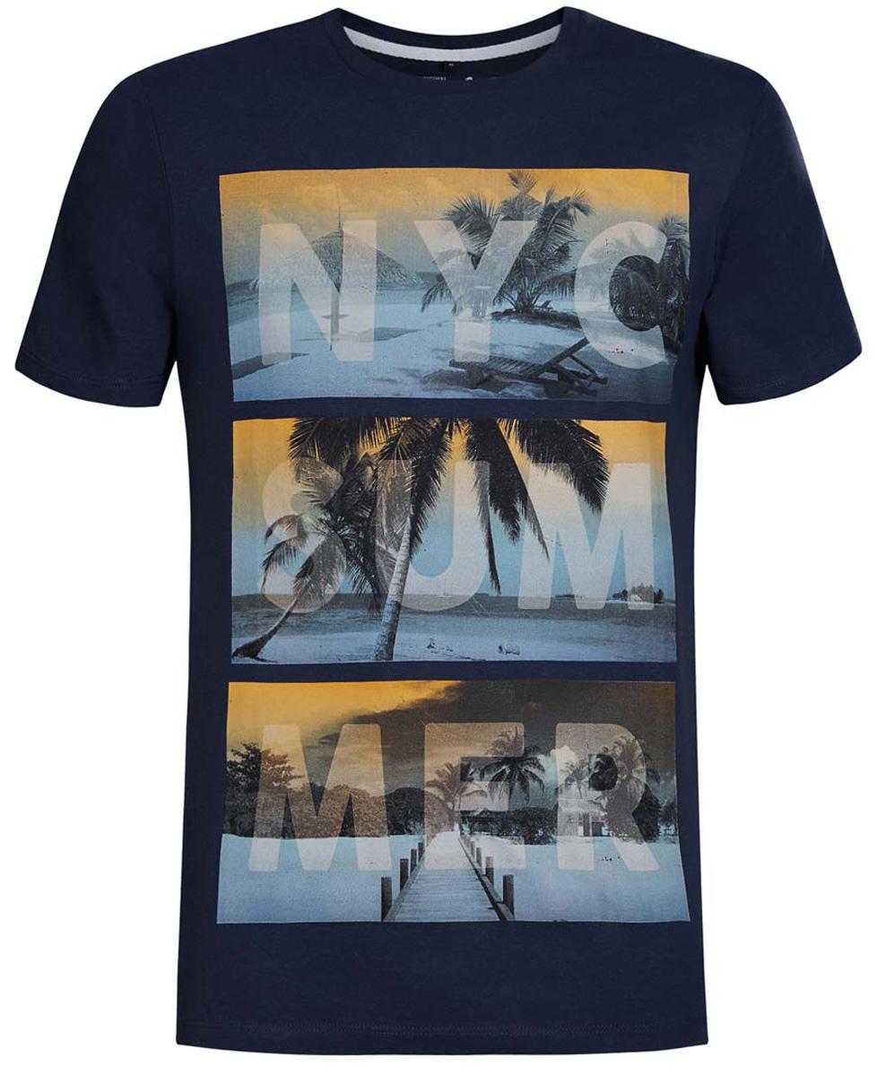 Футболка5L611180M/39496N/6510PМужская футболка oodji изготовлена из высококачественного натурального хлопка. Имеет классический круглый вырез горловины и короткие рукава. Оформлена принтом с изображением пляжей, дополнена надписями на английском языке.