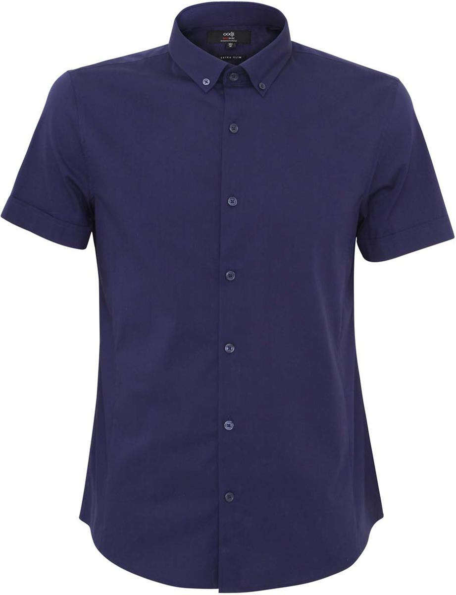 Рубашка мужская oodji Basic, цвет: темно-синий. 3B240000M/34146N/7900N. Размер 38-182 (44-182)3B240000M/34146N/7900NСтильная мужская рубашка oodji Lab выполнена из натурального хлопка с добавлением полиамида и эластана. Модель с отложным воротником и короткими рукавами застегивается на пуговицы спереди. Оформлена рубашка в лаконичном стиле.