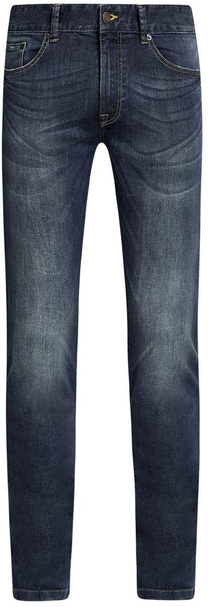 Джинсы6B120042M/45808/7500WСтильные мужские джинсы oodji изготовлены из хлопка с добавлением полиуретана. Джинсы-слим средней посадки застегиваются на пуговицы и молнию. На поясе имеются шлевки для ремня. Спереди модель дополнена двумя втачными карманами и одним небольшим накладным кармашком, а сзади - двумя накладными карманами. Модель оформлена эффектом потертости и перманентными складками.