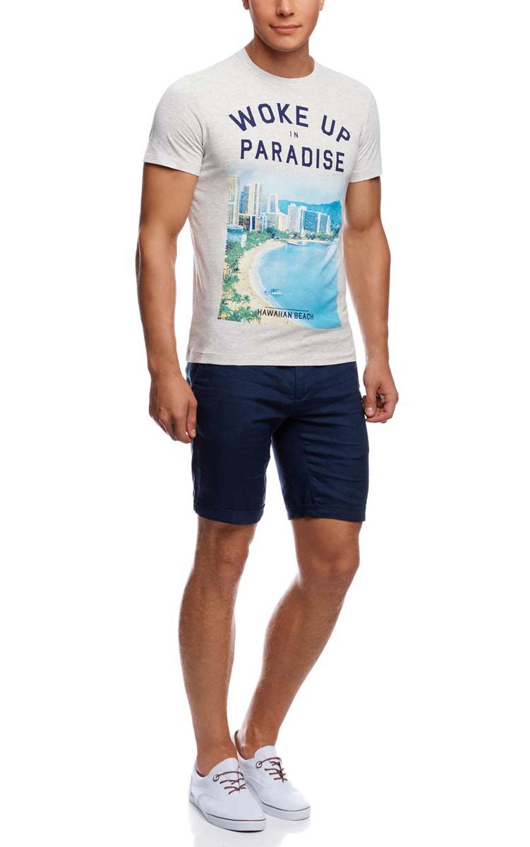 Футболка5L611282M/39272N/2075PМужская футболка oodji изготовлена из натурального высококачественного хлопка с добавлением вискозы. Выполнена с круглым воротом и классическими короткими рукавами. Оформлена принтом с изображением пляжа и надписями на английском языке.