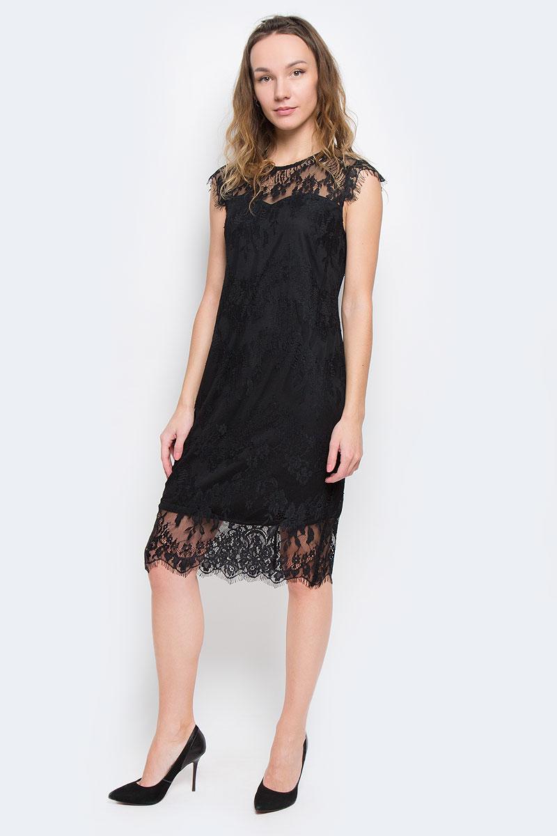Платье5019509.00.75_2999Модное платье Tom Tailor Contemporary изготовленное из кружевного материала с подкладкой из полиэстера. Модель-миди с круглым вырезом горловины и короткими рукавами-крылышками застегивается на застежку-молнию, расположенную на спинке.