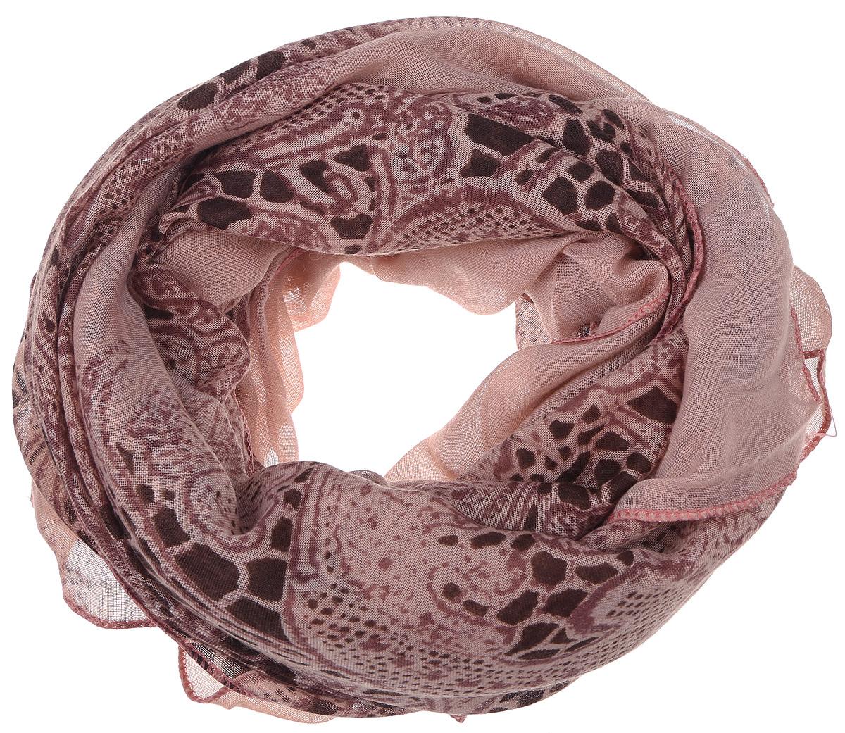 Палантин женский Sophie Ramage, цвет: коричнево-розовый. YY-11657-9. Размер 90 см х 180 смYY-11657-9Элегантный палантин Sophie Ramage станет достойным завершением вашего образа. Палантин изготовлен из модала с небольшим добавлением шелка. Модель оформлена оригинальным узором. Палантин красиво драпируется, он превосходно дополнит любой наряд и подчеркнет ваш изысканный вкус. Легкий и изящный палантин привнесет в ваш образ утонченность и шарм.
