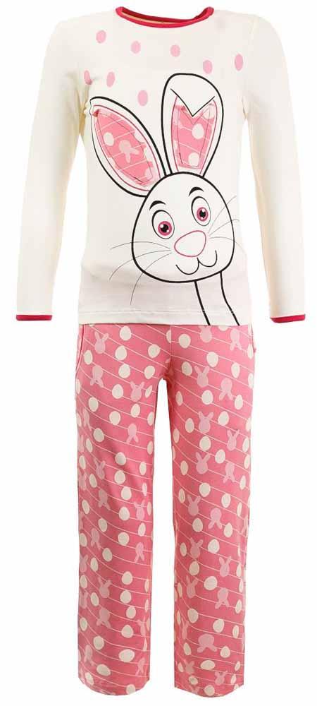 ПижамаN9011124Мягкая пижама для девочки Baykar, состоящая из футболки с длинным рукавом и брюк выполнена из хлопка с добавлением эластана. Футболка с круглым вырезом горловины и длинными рукавами. Брюки на талии имеют мягкую резинку, благодаря чему они не сдавливают животик ребенка и не сползают. По бокам брюки дополнены втачными карманами. Изделие оформлено интересным принтом.