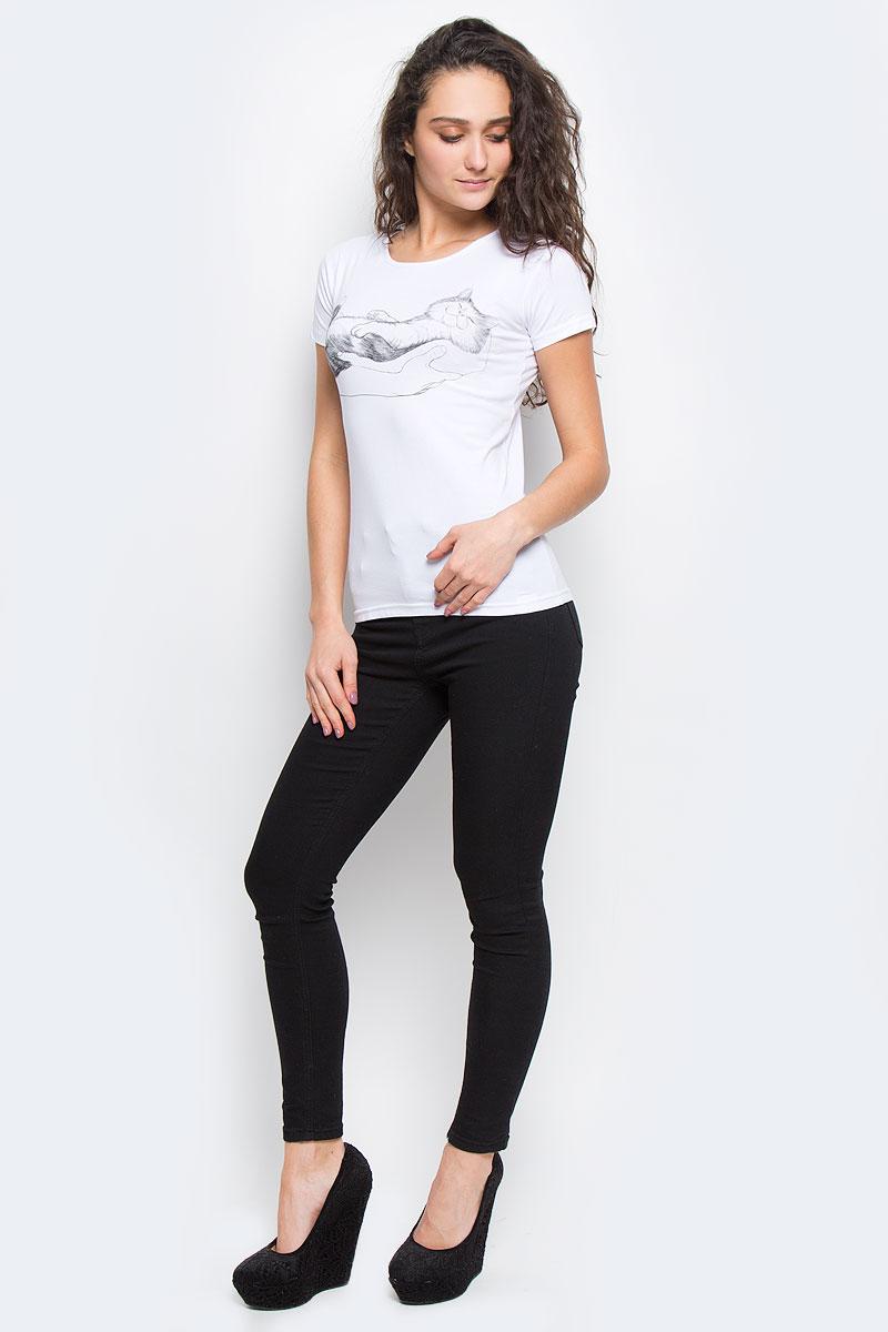 Футболка02144_СоняЖенская футболка Todomoda Соня, изготовленная из хлопка с добавлением лайкры, тактильно приятная и не сковывает движений. Модель с круглым вырезом горловины и короткими рукавами оформлена спереди оригинальным принтом. Прекрасный подарок для себя и для подруги.