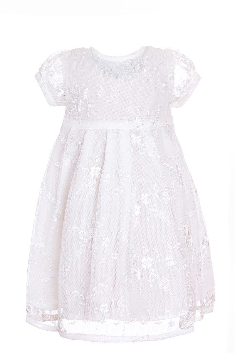 ПлатьеПЛ131-17Очаровательное платье для девочки БЕМБІ выполнено из натурального хлопка. Платье с короткими рукавами-фонариками и круглым вырезом горловины на спинке застегивается на пуговицы. От линии талии заложены складочки, придающие изделию пышность. Оформлена модель кружевом.